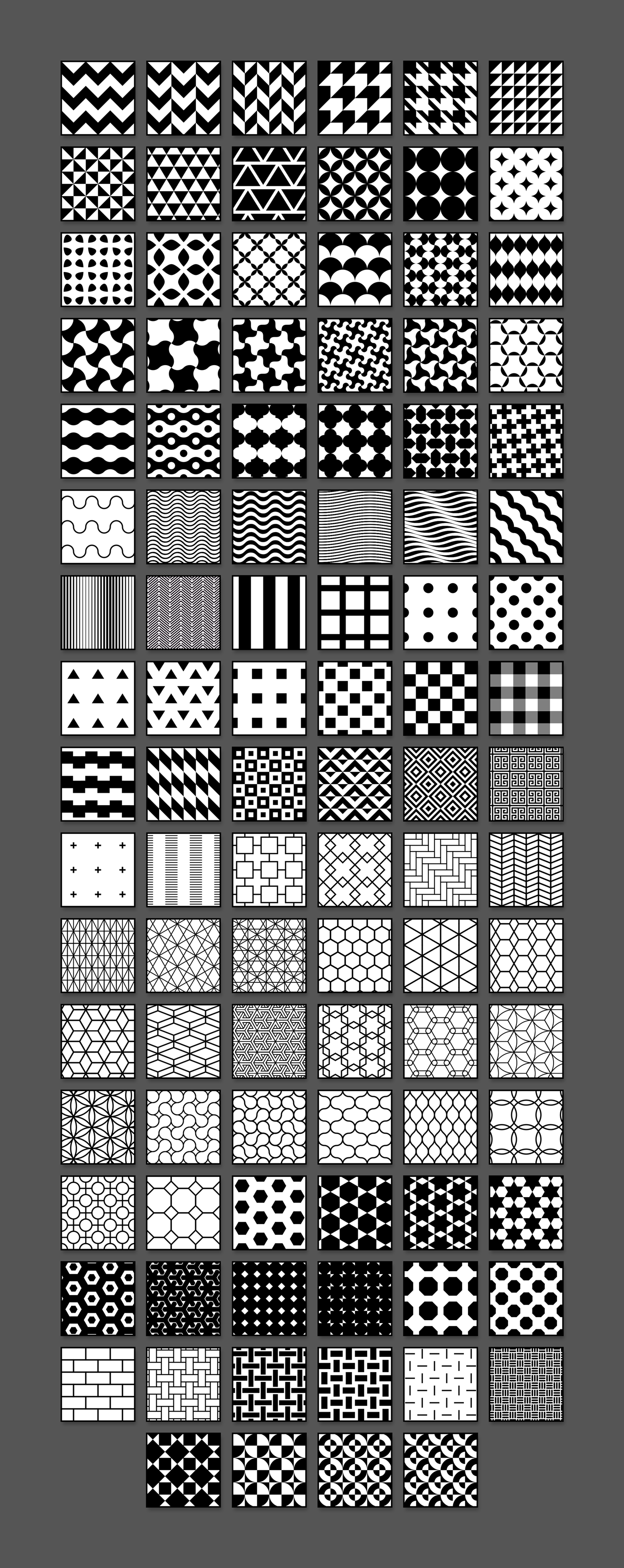 Grid of all 100 Seamless Patterns
