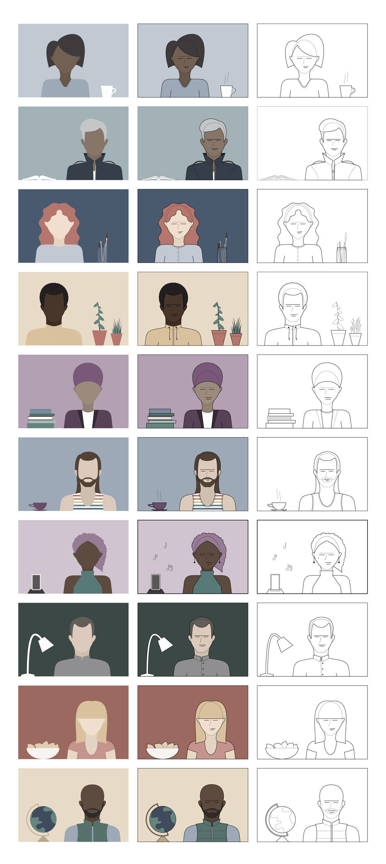Presentation of all 30 illustration variations